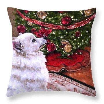 An Eskie Christmas Throw Pillow