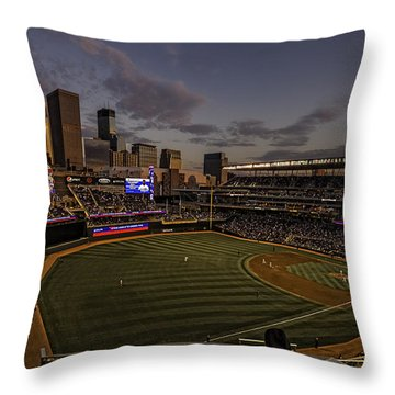An Evening At Target Field Throw Pillow by Tom Gort