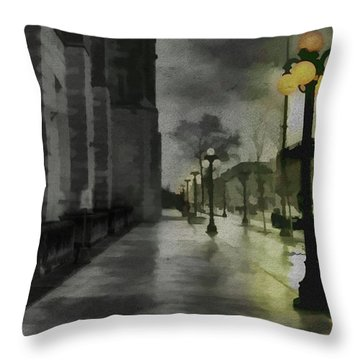 Throw Pillow featuring the mixed media An Evening In Paris by Jim  Hatch