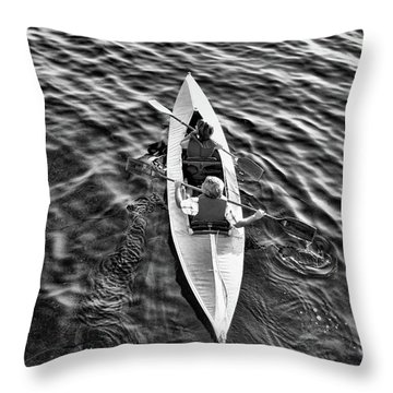 An Evening Row Bandw Throw Pillow