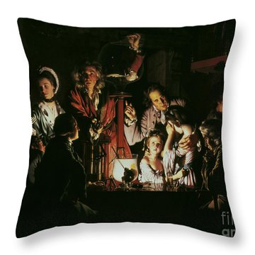 An Experiment On A Bird In The Air Pump Throw Pillow by Joseph Wright of Derby