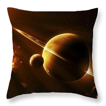An Extraterrestrial Spacecraft Throw Pillow by Kevin Lafin