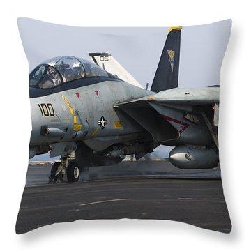 An F-14d Tomcat Launches Off The Flight Throw Pillow