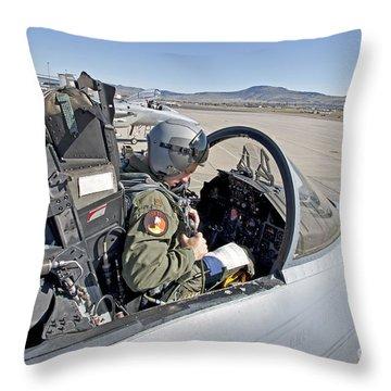 An F-15 Pilot Performs Preflight Checks Throw Pillow by HIGH-G Productions