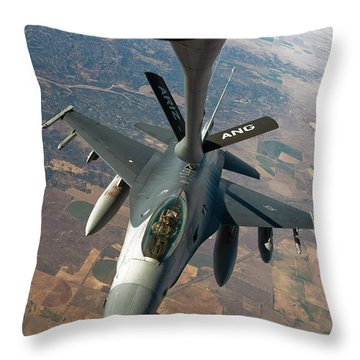 An F-16 Fighting Falcon Receiving Fuel Throw Pillow by Stocktrek Images