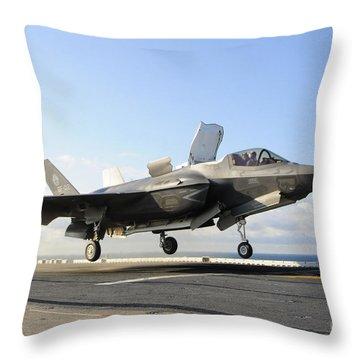 An F-35b Lightning II Lifts Throw Pillow