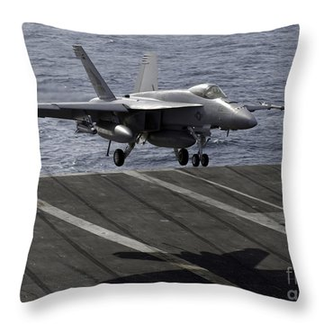 An Fa-18e Super Hornet Prepares To Land Throw Pillow by Stocktrek Images