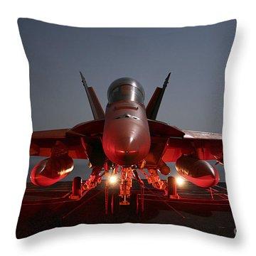 An Fa-18f Super Hornet Parked Throw Pillow