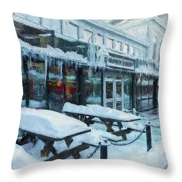 An Icy Quincy Market Throw Pillow