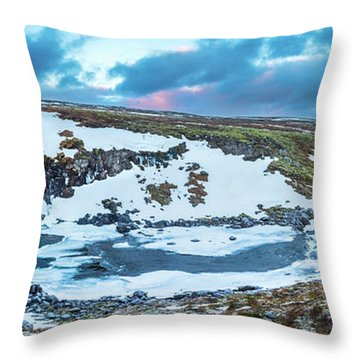 An Icy Waterfall Panorama During Sunrise In Iceland Throw Pillow