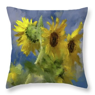 Throw Pillow featuring the photograph An Impression Of Sunflowers In The Sun by Lois Bryan
