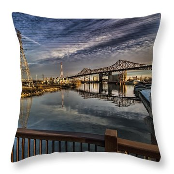 an Industrial river scene Throw Pillow