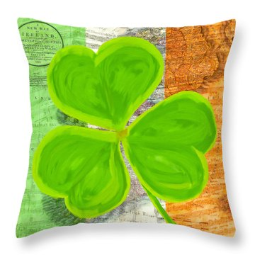 Throw Pillow featuring the mixed media An Irish Shamrock Collage by Mark Tisdale