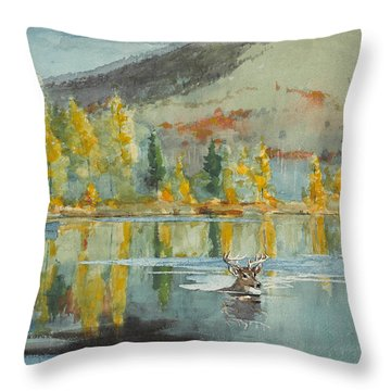 Throw Pillow featuring the painting An October Day by Winslow Homer