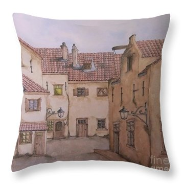 Throw Pillow featuring the painting An Ode To Charles Dickens  by Annemeet Hasidi- van der Leij