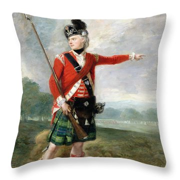 An Officer Of The Light Company Of The 73rd Highlanders Throw Pillow by Scottish School