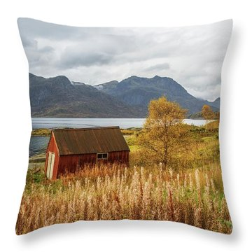 An Old Boathouse Throw Pillow