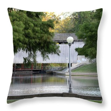 An Old Covered Bridge - Columbus Indiana Throw Pillow