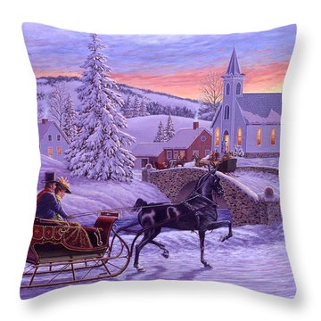 An Old Fashioned Christmas Throw Pillow by Richard De Wolfe