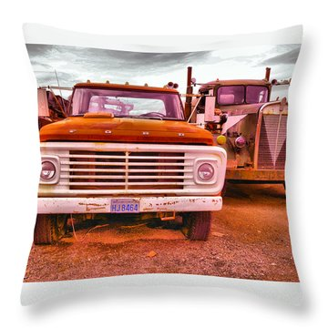 Throw Pillow featuring the photograph An Old Ford And Kenworth by Jeff Swan