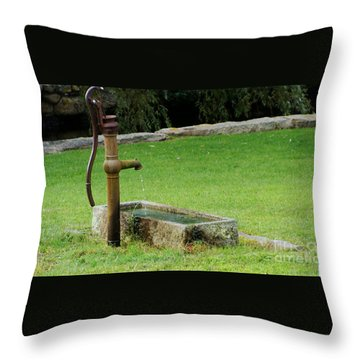 An Old Hand Pump In Plymouth,mass Throw Pillow by Rod Jellison