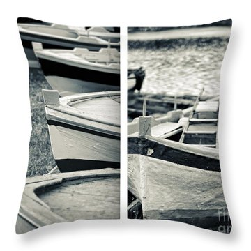 An Old Man's Boats Throw Pillow by Silvia Ganora