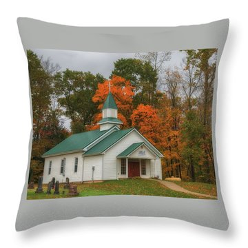An Old Ohio Country Church In Fall Throw Pillow