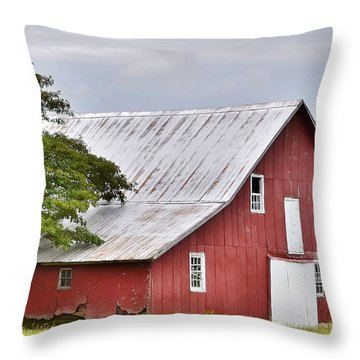 An Old Red Barn Throw Pillow