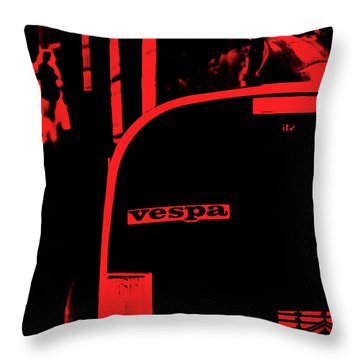 An Old Red Vespa Throw Pillow by Andrea Mazzocchetti
