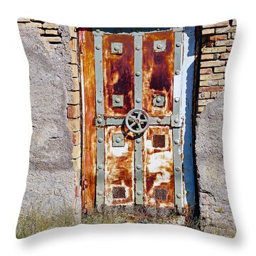 An Old Rusty Door In Katakolon Greece Throw Pillow