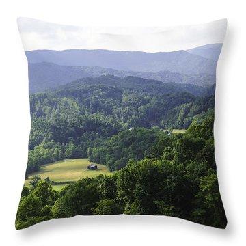 An Old Shack Hidden Away In The Blue Ridge Mountains Throw Pillow