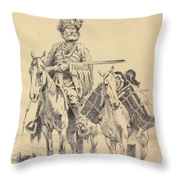 An Old Time Mountain Man With His Ponies Throw Pillow
