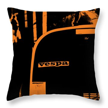 An Old Vespa Throw Pillow by Andrea Mazzocchetti