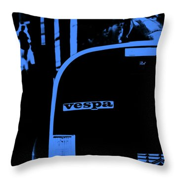 An Old Vespa In Blue Throw Pillow by Andrea Mazzocchetti