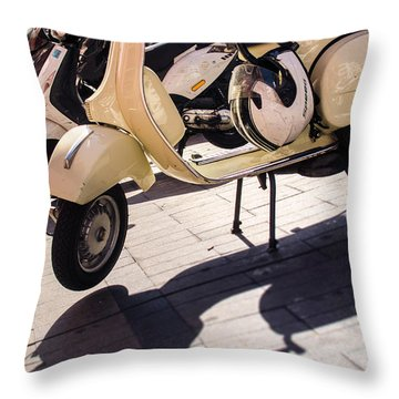 An Old Vespa Scooter - 2 Throw Pillow by Andrea Mazzocchetti