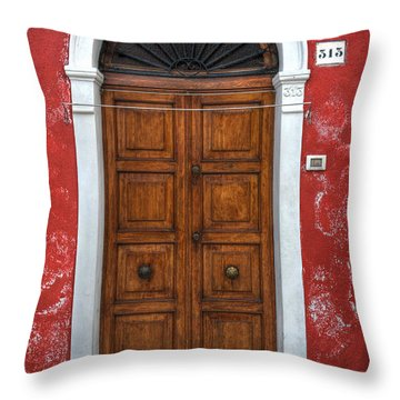 an old wooden door in Italy Throw Pillow