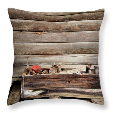 An Old Wooden Toolbox Throw Pillow