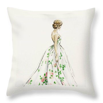 Dressed In White And Roses Throw Pillow