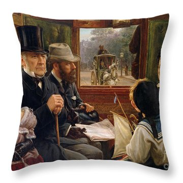 An Omnibus Ride To Piccadilly Circus, Mr Gladstone Travelling With Ordinary Passengers Throw Pillow