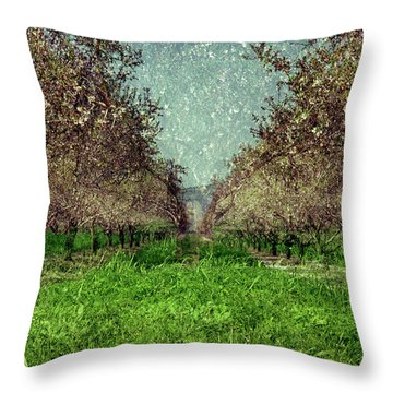 An Orchard In Blossom In The Eila Valley Throw Pillow