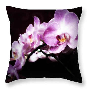 Throw Pillow featuring the mixed media An Orchid For You by Gabriella Weninger - David