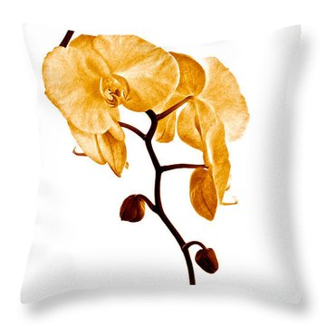 An Orchid's Perfume Throw Pillow by Gwyn Newcombe