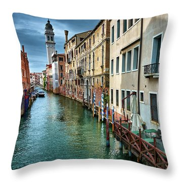 Facades Of Buildings And Tower In Venice, Italy Throw Pillow
