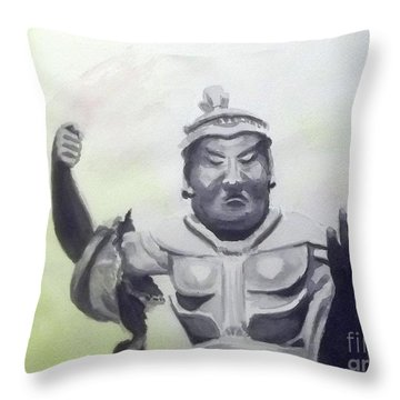 Throw Pillow featuring the painting An Oriental Statue At Toledo Art Museum - Ohio by Yoshiko Mishina