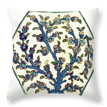 An Ottoman Dmascus Style Floral Design Hexagonal Pottery Polychrome, By Adam Asar, No 12 Throw Pillow
