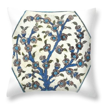 An Ottoman Dmascus Style Floral Design Hexagonal Pottery Polychrome, By Adam Asar, No 12b Throw Pillow