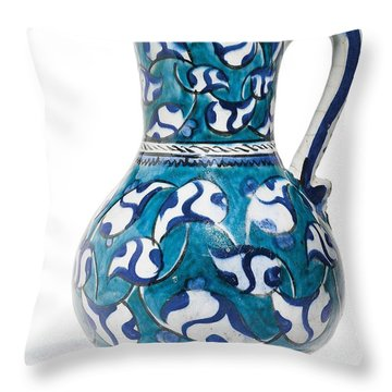 An Ottoman Iznik Style Floral Design Pottery Jug Polychrome, By Adam Asar, No 16v Throw Pillow