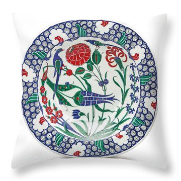 An Ottoman Iznik Style Floral Design Pottery Polychrome, By Adam Asar, No 1 Throw Pillow
