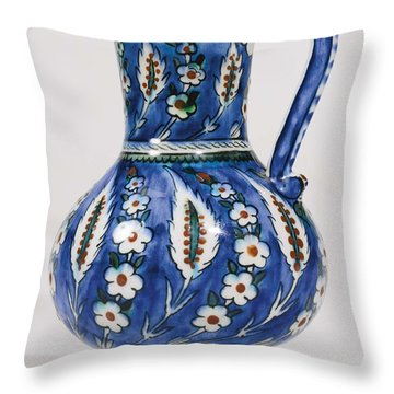 An Ottoman Iznik Style Floral Design Pottery Polychrome, By Adam Asar, No 19 Throw Pillow
