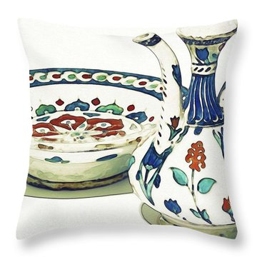 An Ottoman Iznik Style Floral Design Pottery Polychrome, By Adam Asar, No 4a Throw Pillow